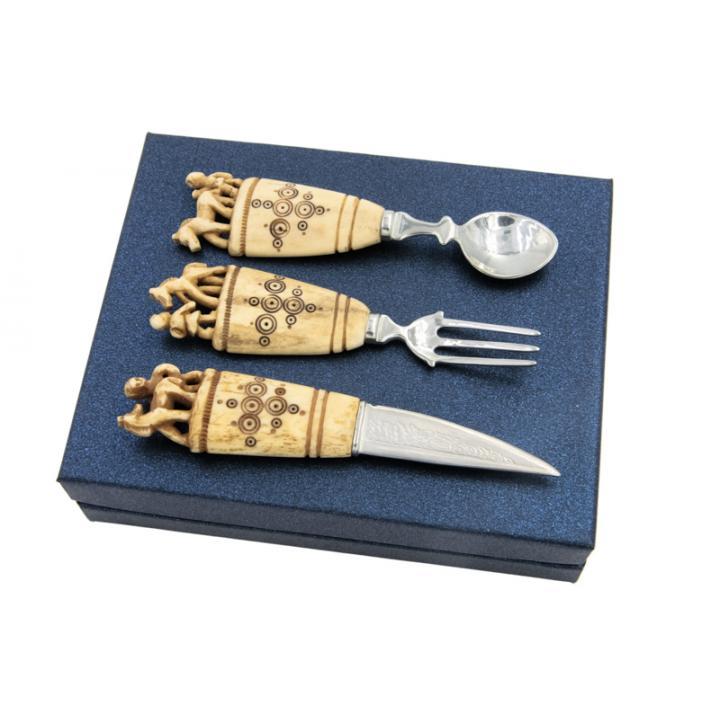 Сувенирный набор с резными костяными ручками - авторская работа 800022