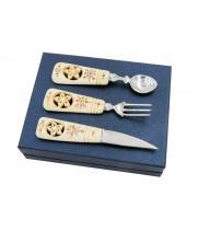 Сувенирный набор с резными костяными ручками - авторская работа 800024