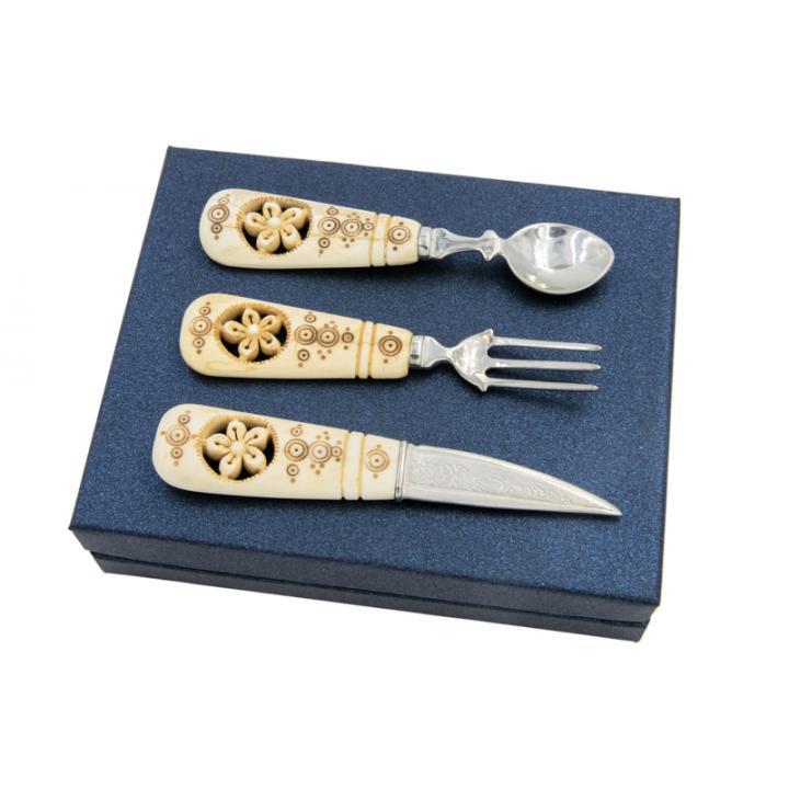 Сувенирный набор с резными костяными ручками - авторская работа 800025
