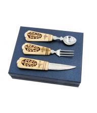 Сувенирный набор с резными костяными ручками - авторская работа 800026